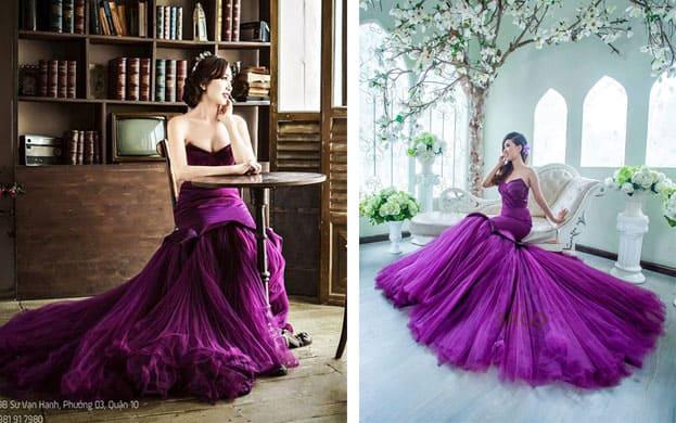 váy cưới màu tím cho cô dâu 2016