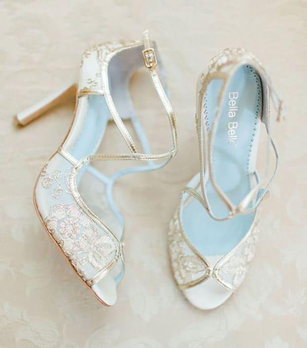 giày cưới ren trắng satin