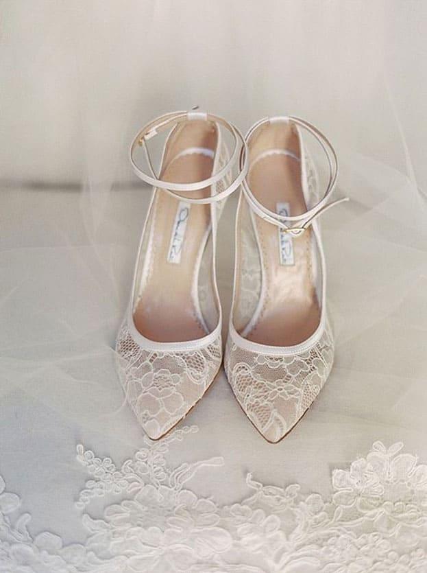 giày cưới ren trắng cao gót