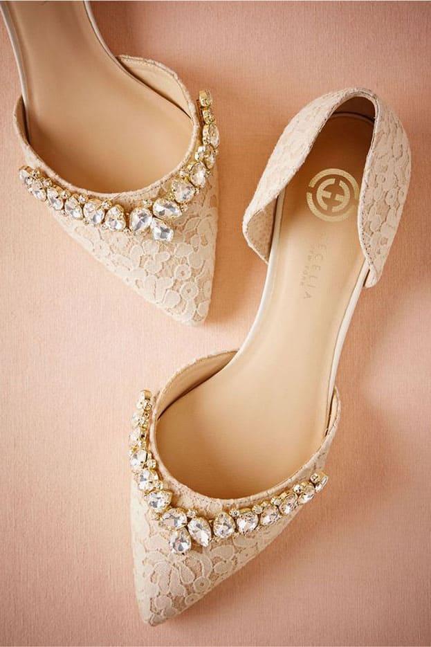 giày cưới ren trắng đính đá