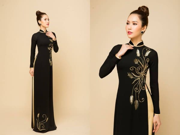 áo dài màu đen thêu đẹp