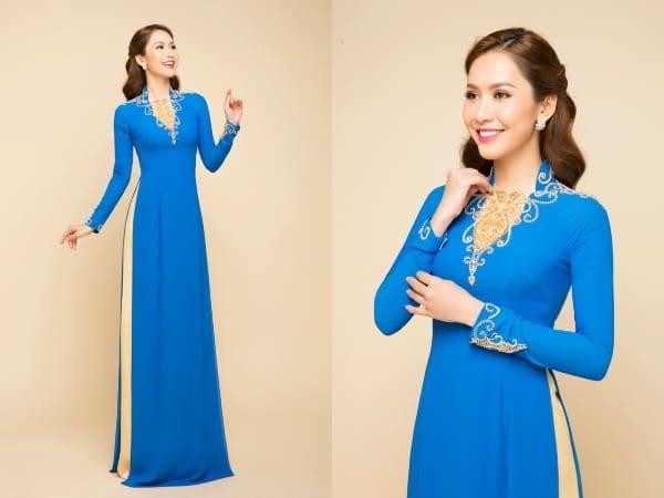 áo dài màu xanh nước biển đẹp