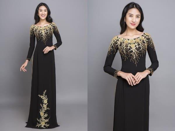 áo dài màu đen ren vàng