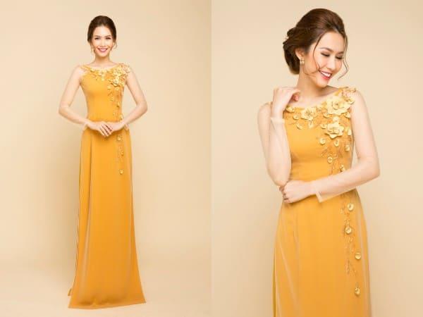áo dài màu vàng thêu hoa