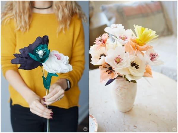 làm hoa cưới bằng giấy nhún 1