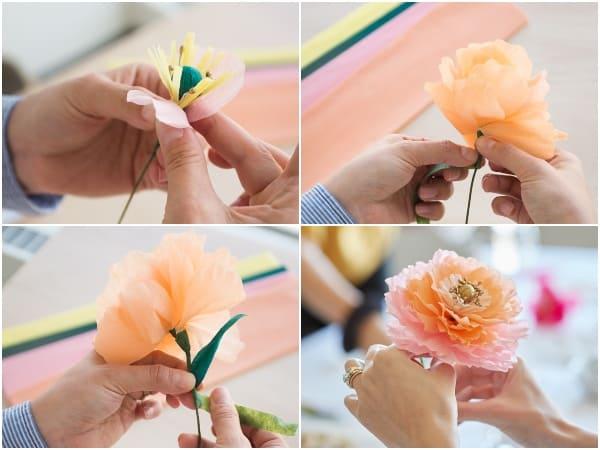 làm hoa cưới bằng giấy nhún 4